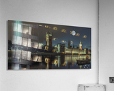 Column of spectra lights with Westminster Abby, London, UK  Impression acrylique