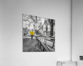 Tourist on pathway with Yellow umbrella at Central park, New York  Acrylic Print