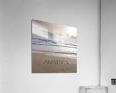 Sand writing - Word Happy written on beach  Acrylic Print
