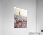 Eiffel Tower seen through the window of an apartment in Montmartre, Paris, France  Acrylic Print
