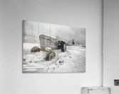 Winter Snow  Mountain Farm And Old Tractor  Acrylic Print