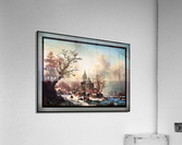 Winter Landscape with Activities by a Village by Frederik Marinus Kruseman Old Masters Classical Fine Art Reproduction  Acrylic Print