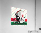 Retro Miami Hurricane Football Helmet Art  Acrylic Print