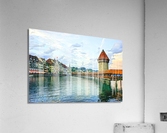 Chapel Bridge and Old Town at Sunset Lucerne Switzerland  Acrylic Print