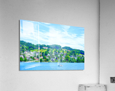 Sailboat On Lake Lucerne with Alpine Village in Background  Acrylic Print