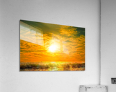 Wild Waves Break as the Sun Sets over Catalina Island in Newport Beach California  Acrylic Print