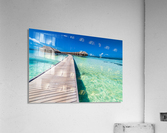 View of water bungalow in tropical island, Maldives, Indian ocean  Acrylic Print