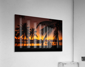 Palm trees silhouette on sunset tropical beach  Acrylic Print