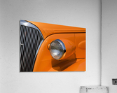 Orange Painted Vintage Car's Headlight And Front Grill; Port Colborne, Ontario, Canada  Acrylic Print