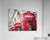 Telephone boxes in a row; Blackpool, Lancashire, England  Acrylic Print