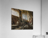 Forest landscape with flowing water and two hunters  Acrylic Print
