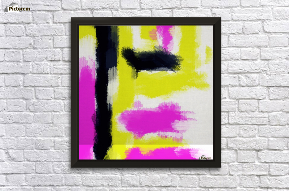 Pink Yellow And Black Painting Abstract, Paintings With Yellow Background