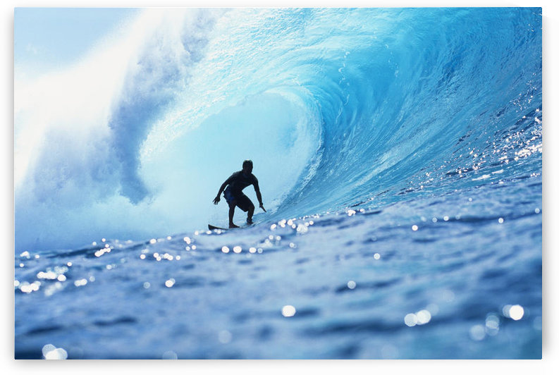 Hawaii, Oahu, North Shore, Silhouette Of Surfer In Pipeline Barrel by PacificStock