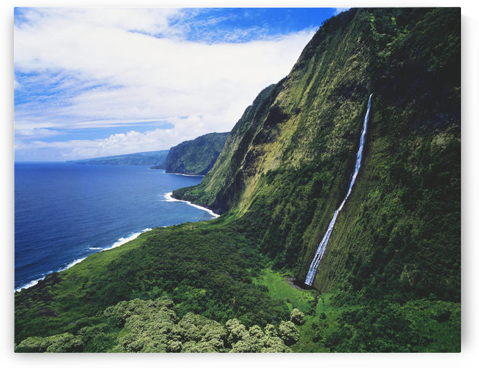 Hawaii, Big Island, Hamakua Coast, Waterfalls Cascade Into The Ocean by PacificStock