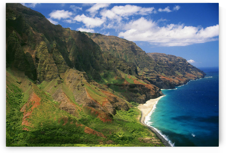 Hawaii, Kauai, Aerial Along Napali Coastline, Rugged Cliffs by PacificStock
