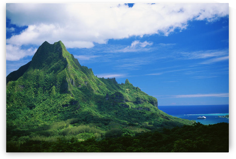 French Polynesia, Tahiti, Moorea, Mount Rotui, Green Mountaintop, Ocean Below by PacificStock