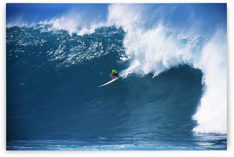 Hawaii, Oahu, North Shore, Waimea, Noah Johnson Riding Wave by PacificStock
