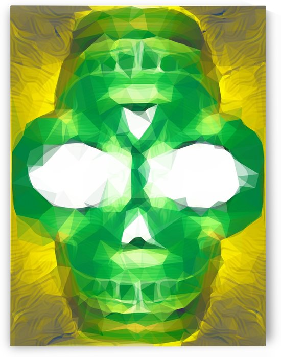 psychedelic skull art geometric triangle abstract pattern in green yellow by TimmyLA