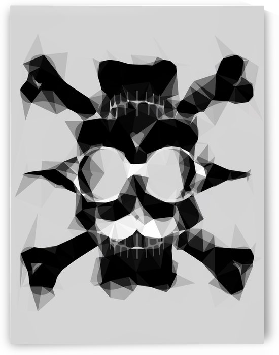 psychedelic skull art geometric triangle pattern abstract in black and white by TimmyLA