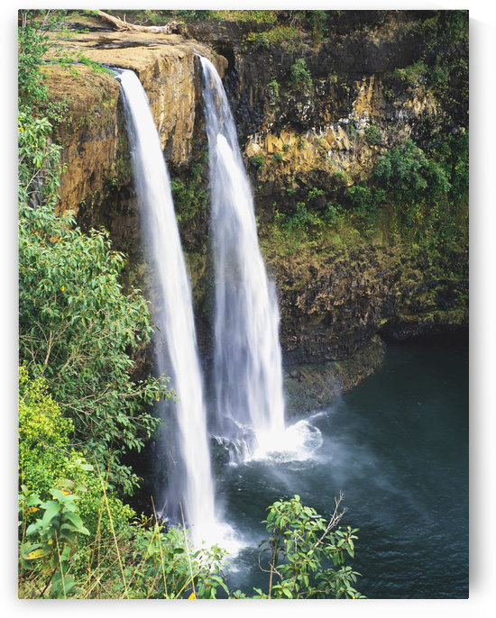 Hawaii, Kauai, Wailua Falls Surrounded By Foliage. by PacificStock