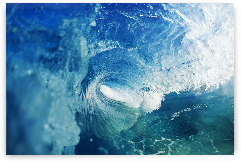 View From Inside Tube Of Inside Of Wave, Circular Pattern, Sun Reflections In The Blue Water by PacificStock