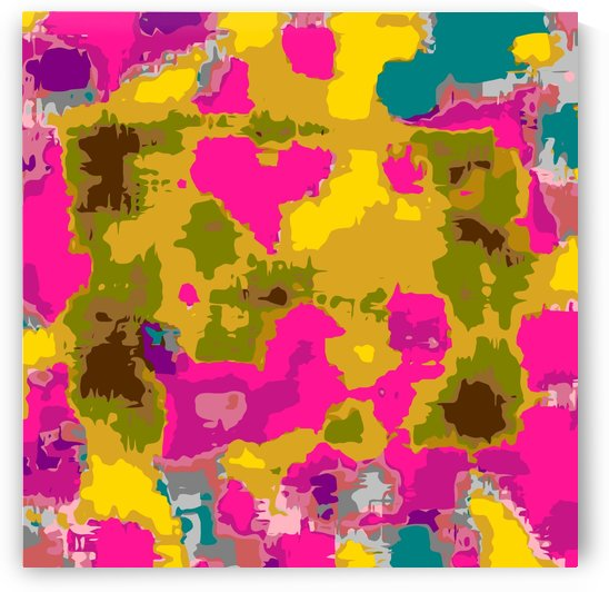 psychedelic geometric painting texture abstract in pink yellow brown blue by TimmyLA
