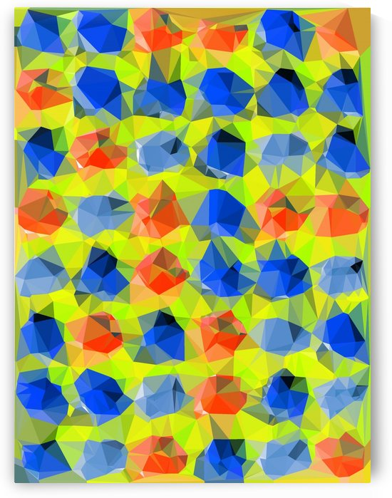 geometric polygon abstract pattern in yellow blue orange by TimmyLA