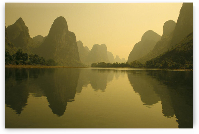 China, Guilin, Piled Silk Mountains, Li River With Reflections In Water A72H by PacificStock