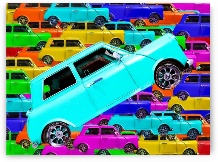 vintage classic car toy background in yellow blue pink green orange by TimmyLA