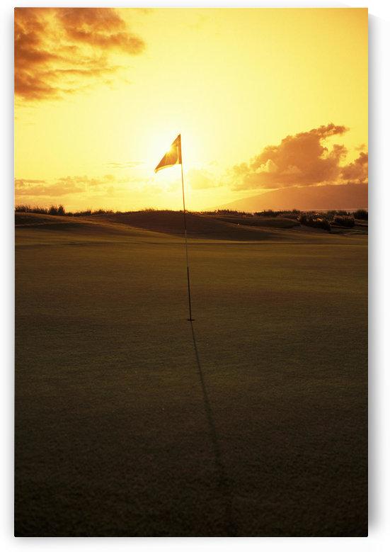 Hawaii, Maui, Kapalua Golf Club Plantation Course, 4Th Hole Flag At Sunset by PacificStock