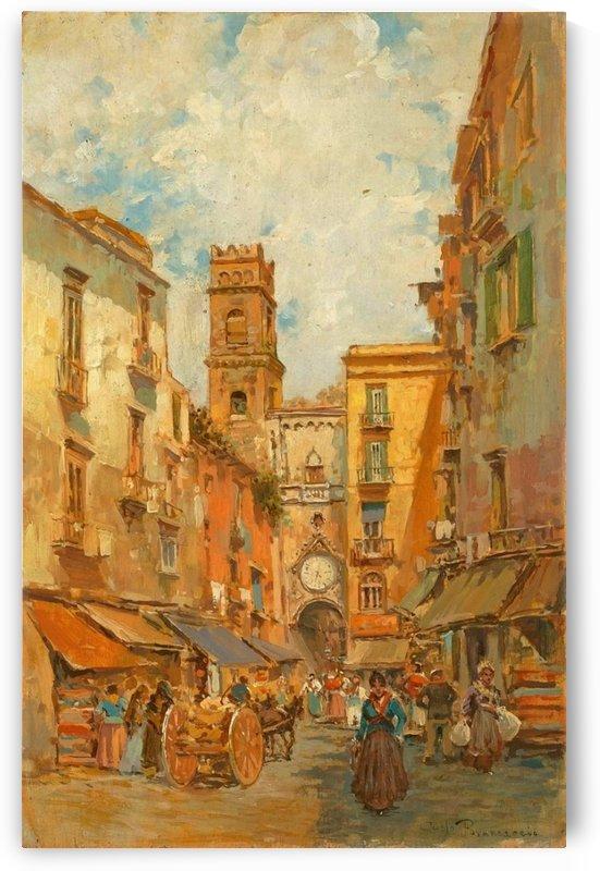 A street in Naples with Sant Eligio Maggiore by Carlo Brancaccio