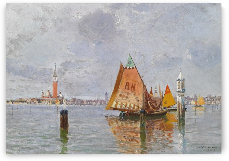 Fishing boats in Venetian lagoon by Carlo Brancaccio