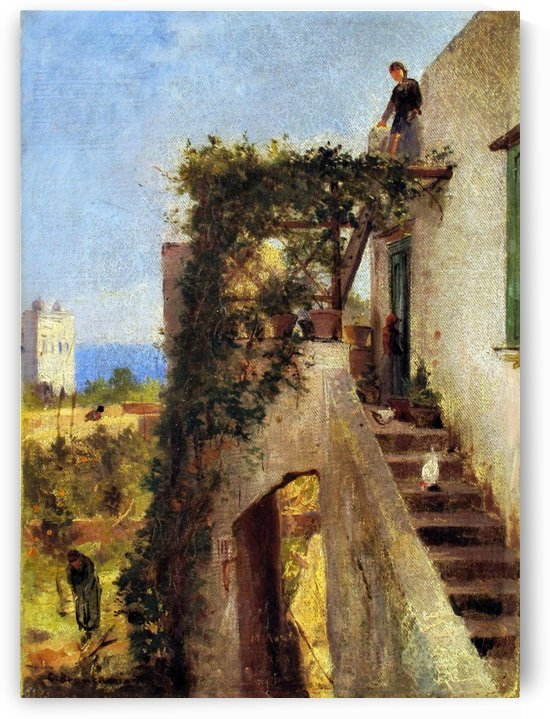 Old cottage with figures by Carlo Brancaccio