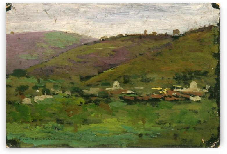 Landscape with houses on an Italian hill by Carlo Brancaccio