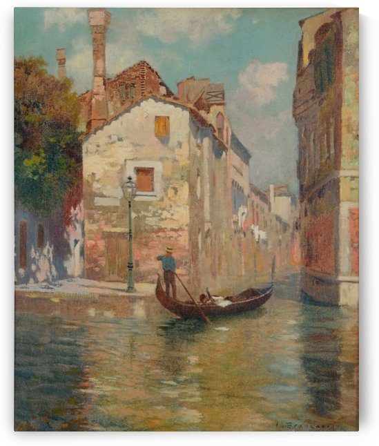 Gondola traveling along a canal in Venice by Carlo Brancaccio