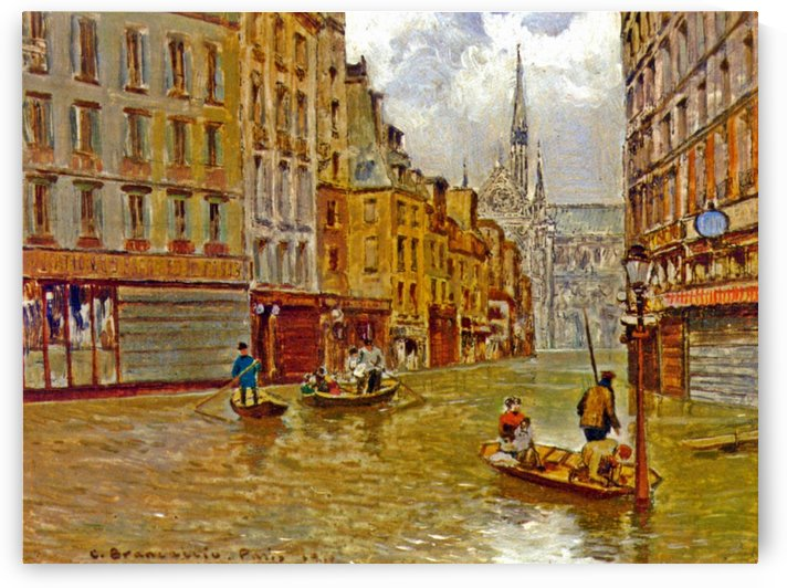 Street in Paris during Flood of 1910 by Carlo Brancaccio