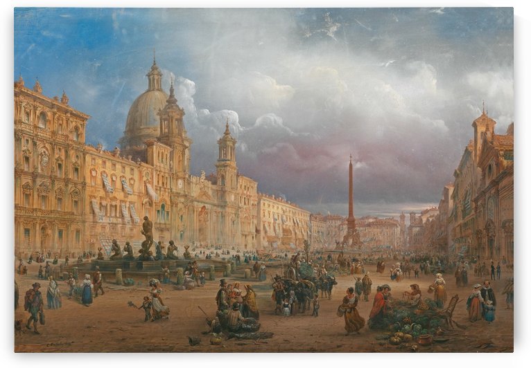 View of Piazza Navona, Rome by Carlo Bossoli