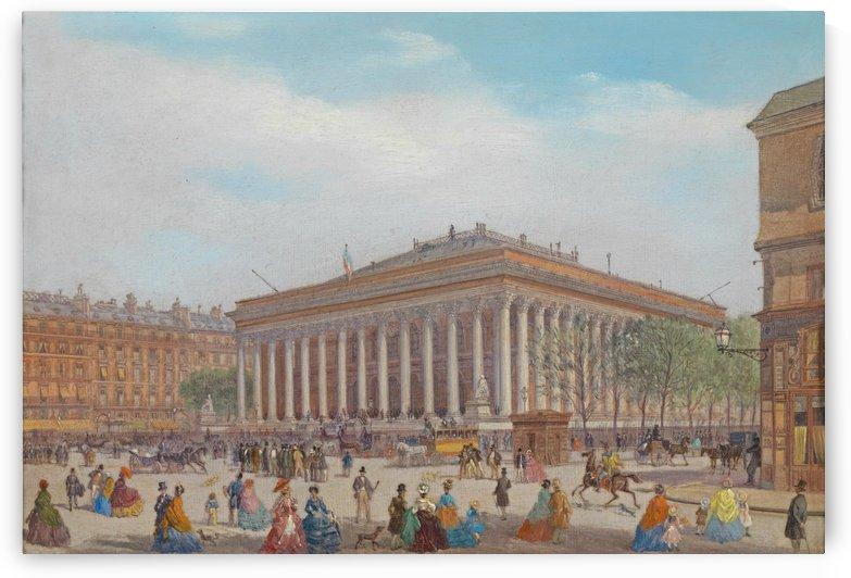 View of the Place de la Bourse, Paris by Carlo Bossoli