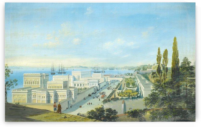 The Cıragan palace, Topkapi beyond by Carlo Bossoli