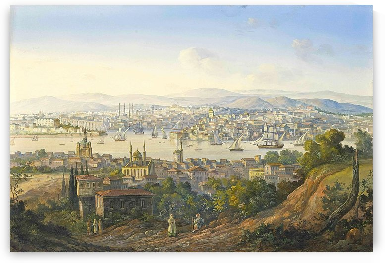 Turks overlooking Istanbul by Carlo Bossoli