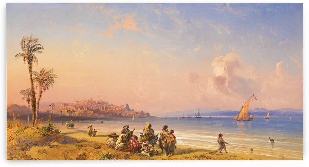 Seascape with boats and figures along the Italian coast by Carlo Bossoli