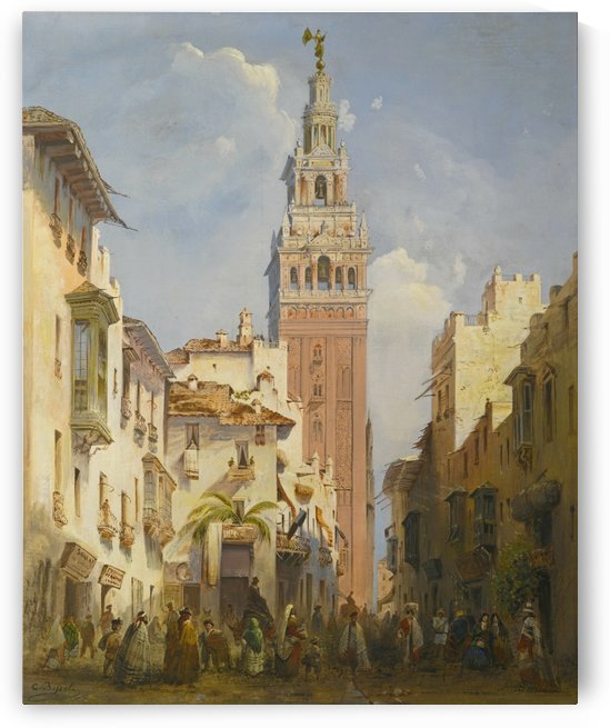 The Giralda Tower, Seville by Carlo Bossoli