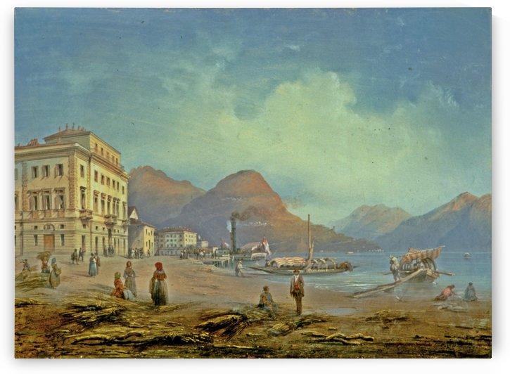 View of Lugano, Piazza and Riva del Grano, 1849 by Carlo Bossoli