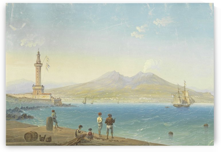The Gulf of Naples, with Vesuvius in eruption by Carlo Bossoli