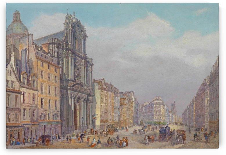 View of Rue Saint-Antoine, Paris by Carlo Bossoli