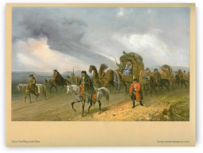 Tartars travelling on the Plains by Carlo Bossoli