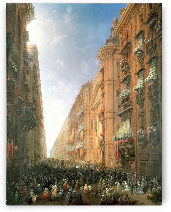 Festival in the city with lot of figures by Carlo Bossoli