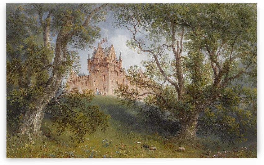 A view of Brodick Castle, Isle of Arran, Scotland by Carlo Bossoli