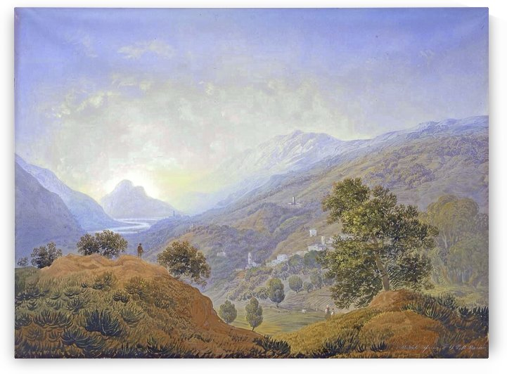 Italian hills with figures and river by Carlo Bossoli