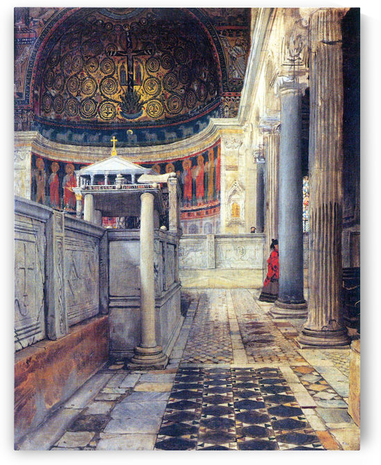 The interior of the church of San Clemente, Rome by Alma-Tadema by Alma-Tadema